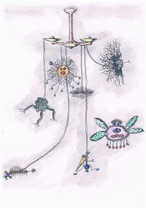 Polly Xolomonen Lampe mit Effekt Rahmen