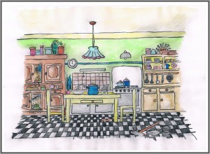 Polly Petroleum Küche mit Effekt Rahmen